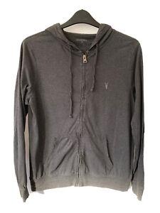 All Saints Brace Hoodie Zip Up Jacket Cotton Lightweight Grey Men L