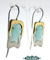 14k Yellow Gold & Silver Blue Quartz Hanging Earrings
