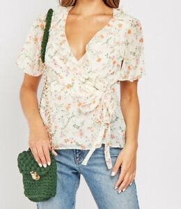 Ladies Ditsy Floral Tie-Wrap New Chiffon Tops Blouse Sheer Ruffled Front sleeves