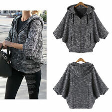 Cotton Blend Hooded Patternless Blouses for Women