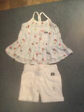 Okie Dokie Toddler 2T Striped Floral & Fruit & Heats Tank Top W/White Short Set