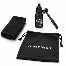 TunePhonik Stylus Brush Kit for Turntable Cartridges w/ Cloth and Cleaning Fluid