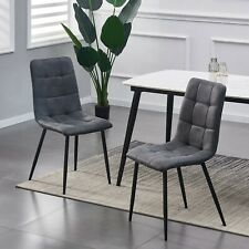 More details for set of 2 faux matte suede leather dining chairs  home & restaurants henri