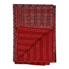 Indian Hand block Print Kantha Quilt,blanket Cotton Queen Bedspread Gudari Throw