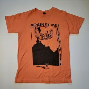 Against Me! 333 Rock Band T-Shirt Peach / Orange  sz Small