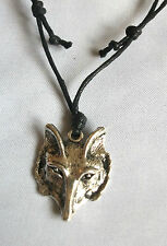 Tibetian Silver Wolf, Dog, Fox Face Charm pendant Necklace Tribal Surf Gothic