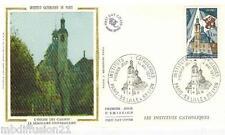 1977 - ENVELOPPE SOIE**FDC 1°JOUR**INSTITUT CATHOLIQUE DE PARIS - TIMBRE Yt.1933