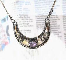 Beautiful Sterling Silver Purple Amethyst Bezel set Gilt necklace 3.6g