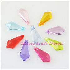 40 New Charms Plastic Acrylic Faceted Teardrop Pendants Mixed 9x20mm