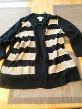 Women's Christopher & Banks Black Striped 3/4 Sleeve Open Front Cardigan SZ M