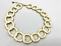 Vintage Necklace Choker Gold Tone w White Baked Enamel Overlapping Open Links