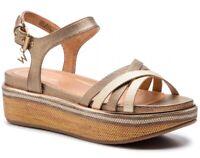 WRANGLER TROPICAL NICO GOLD scarpe sandali donna pelle zeppa plateau tacco