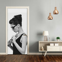 Self adhesive Door wrap removable Peel & Stick People A woman with glasses