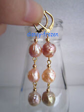 Gorgeous AAA+ 10-11mm real south sea multicolor baroque pearl earrings 14K GOLD