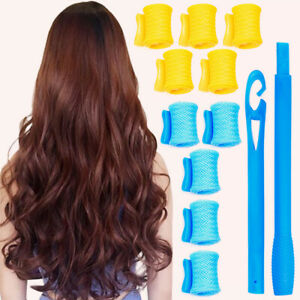 12Pcs Magic Hair Curlers Spiral Curls Styling Kit with 2 Hooks for Women and Men