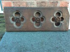 More details for oak panel from an old pipe organ case featuring (nearly) three quatrefoils