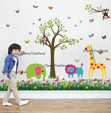 Jungle Monkey Tree Animals Grass Wall Art Decal Stickers Kids Room Nursery Decor