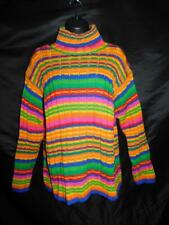 Vintage Benetton XL Rainbow Stripe Turtleneck Sweater Wool Italy Made Red Blue