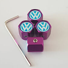 VW VOLKSWAGON PURPLE ANTI THEFT DUST VALVE CAPS LIMITED ALL MODELS RETAIL PACK