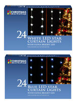 24 LED Star Light Curtain Hanging Window Christmas Decoration Indoor Outdoor