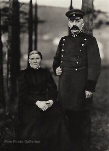 1911 Vintage AUGUST SANDER German Railway Train Officer and Wife Photo Art 11x14