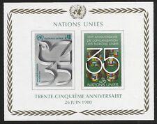 United Nations Scott #Geneva 95, Souvenir Sheet 1980 Complete Set FVF MNH