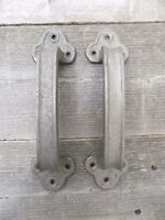 2 Cast Iron Handles Door Hardware Pull Gate Shed Drawer Cabinet Barn Shed Gate