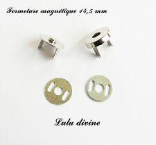 1 Fermoir aimant, aimanté, Fermeture magnétique pour sac Ø 14,5 mm Argent