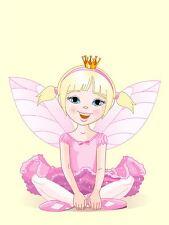 ART PRINT POSTER NURSERY FAIRY PINK DRESS WINGS CROWN KIDS BEDROOM LFMP0798