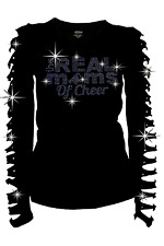 Cheer Mom Shirt The Real Moms of Cheer BLING BLING Rhinestone,Ripped Cut Out 2XL