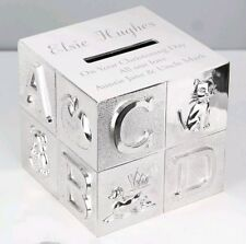 Personalised Silver Plated ABC Money Box Birthday Christening New Baby Gift