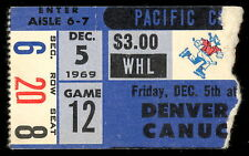 1969 DEC 5 WHL HOCKEY TICKET STUB VANCOUVER CANUCKS WITH DON CHERRY VS DENVER
