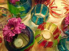 votive decorative handpainted stained glass jar vase candle colorful desk custom