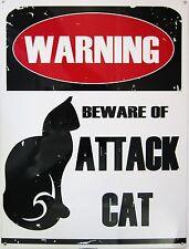 Warning-Attack Cat Metal Sign