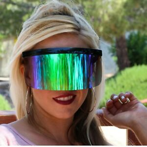 Futuristic Oversized XXL Shield Visor Sunglasses Flat Top Mirrored Mono Lens 172