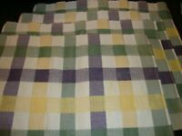 Fall - Autumn Set (4) Pastel White Green Purple Yellow Checked Placemats     203