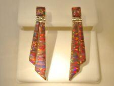 Long Shards of Glass TRUE RED FIRE Opal Earrings Sterling Silver 925 Ladies Long