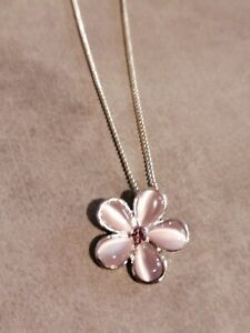 Necklace With Pink Flower Silver Tone Costume Jewellery Lovely Condition