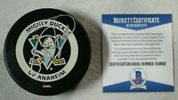 Teemu Selanne Signed Autographed Anaheim Mighty Ducks Puck Beckett COA NHL Auto