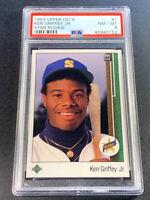 KEN GRIFFEY JR 1989 UPPER DECK #1 STAR ROOKIE RC NM-MINT PSA 8 HALL OF FAMER (L)