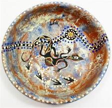 Australian Indigenous Aboriginal Bush Artist Wobi Water Lizard 6.25in Bowl