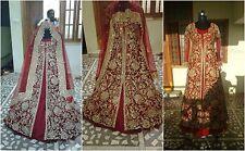 Pakistani new wedding trail anarkali gown lengha lehenga Indian red zardosi work