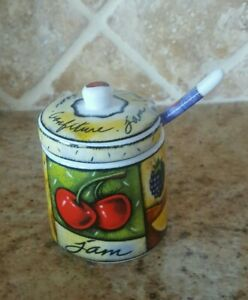 Porcelain sugar jam jar container with lid and spoon