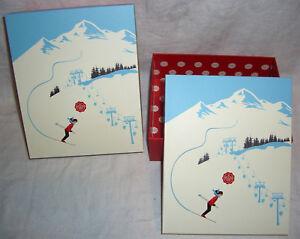 2 GLOSSYBOX Winter SKI Lift Sport Geschenk BOX Schachtel Karton Kiste Berge alpi