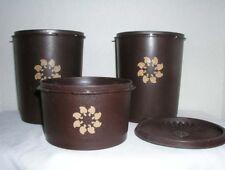 Vintage Tupperware Lot Brown Servalier Canisters Mushroom Sunburst