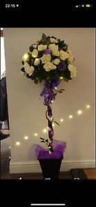 3ft Decorative Rose Trees with fairy lights, purple ribbons. Ideal for wedding