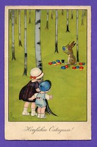 GERMANY Easter CHILDREN RABBIT AND EGG VINTAGE POSTCARD 122