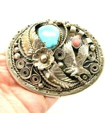 Large Turquoise Coral Eagle AS IS Sterling Silver Belt Buckle 98g NOA151