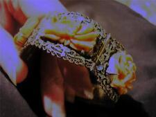 Squisita Antica Cinese Rara argento DORATI SMALTO & intagliate corallo Bracciale