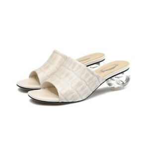 Women's Fashion Genuine Leather Block Mid-heeled Slipper Simple Pattern Sandals